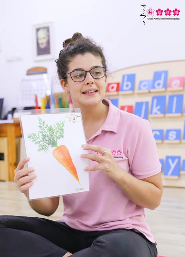 Giáo viên tiếng Anh sử dụng các hình ảnh để giới thiệu cho trẻ về từ vựng